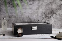 SWEETV Watch Box for Men - 12 Slot Carbon Fiber