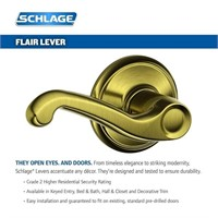 Schlage F40FLA609 Flair Privacy Lever, Antique