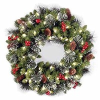 "National Tree 24"" Crestwood Battery Spruce Wreath"