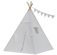 Natural Canvas Pompom Teepee with Floor, Pocket,