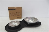 TRIPLETREE Double Stainless Steel Pet Bowls