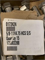 """(15) Stainless Steel 5/8-11x4 3/4"""" Bolts"""