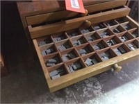 6 Drawer wood cabinet & contents