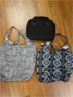 Lot of 2 Nylon Reusable Grocery Bags & Black Case