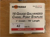 Spotnails 16Ga Chisel Point Galvanized Staples