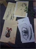 Lot of Over 30 Sketches & Asstd Art
