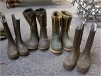 Lot of 4 Boys/Mens Rubber Boots Sz 5-9