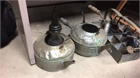2- Kettles & Various Oil Cans