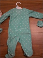 Lot of 3 Carters Baby Sleepers Sz 6 Months and