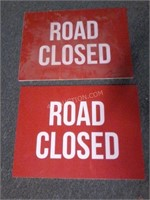 """Lot of 2 Road Closed signs 24"""" x 18"""""""