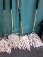 "Lot of 5 Mops & Garbage Can 18""D x 23""H"