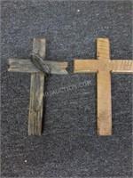 """Lot of 2 Wood Crosses 6"""" x 10"""""""