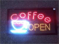 "Light Up Coffee Open Sign -24"" x 13"" - Working"
