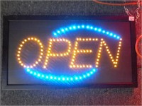 "Light Up Open Sign - 24"" x 13"" - Like new -Working"