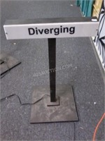 """Light Up """"Diverging"""" Railroad Sign 28""""H - AS/IS"""