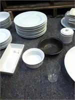 Lot of Asstd Dishware - Plates, Bowls, Tongs, etc