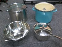 Lot of 3 Pots and Collander
