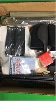 Box of Gun Parts, Cleaning Accessories,
