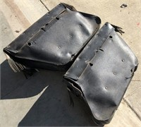 2 vintage leather motorcycle saddlebags