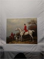 Signed Hunter Red Coats Painting Oil on Canvas