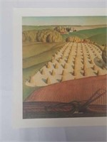 Print on canvas of a farm by Grant Wood