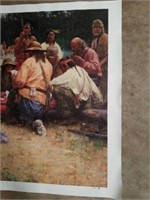 "Signed H.Terpning ""Friendly Game"" Print on Canvas"