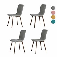 Ihouse Set of 4 Dining Side Chairs Fabric Cushion