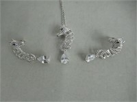 Thalie Silver Horse Earring and Necklace Set