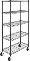 5-Shelf Shelving Unit on 4'' Casters, Black