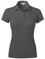 Hanes Women's Pique Polo, Charcoal Heather, X
