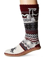 Muk Luks Women's 5-7 Poms Slipper Socks, chianti,