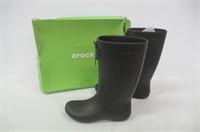 crocs Women's 10 Freesail Rain Boot, Black