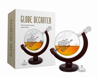 Whiskey Decanter Set World Etched Globe Decanter