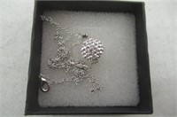 Solid Silver S925 Disco Ball White Crystals from