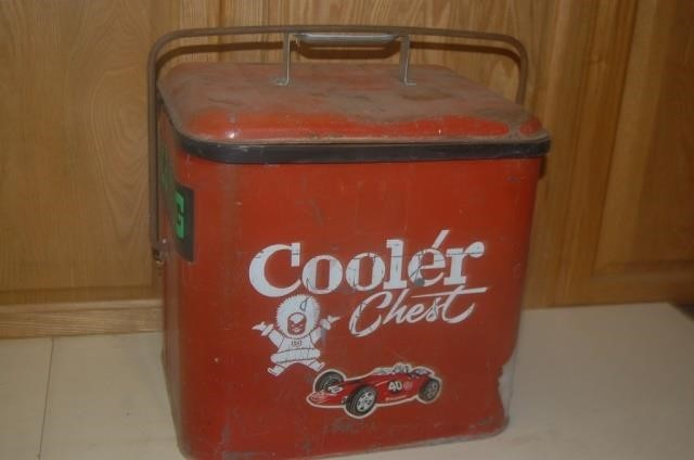 Vintage Cooler Chest with Racing Stickers | Seventh Deviation