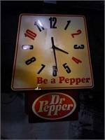 Vintage Dr Pepper clock 36 x 28
