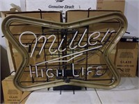 Very large Miller high life flashes on and off