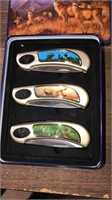 3 Knives in a Metal Case- Deer & Elk