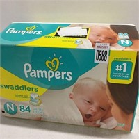 1 BOX OF PAMPERS SWADDLERS TOTAL OF 84 PCS