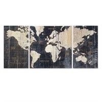 WEXFORD HOME WORLD MAP 3PC GRAPHIC ART
