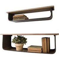 2PC METAL AND WOOD SHELVES