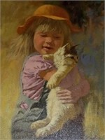 Love my kitty rob woods oil on canvas signed