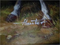 Hunter signed oil on canvas