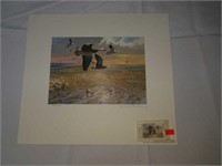 John P. Cowan signed and numbered print with stamp