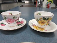 Three cups and saucers