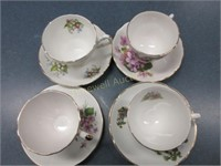 Four cups and saucers
