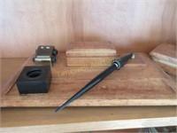 Leather clad desk set