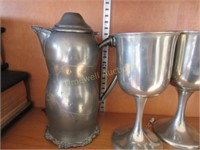 Pair of silver plated chalices and pewter pitcher
