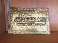 """Brass """"Last Supper"""" wall hanging"""