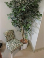 Silk plant and chair